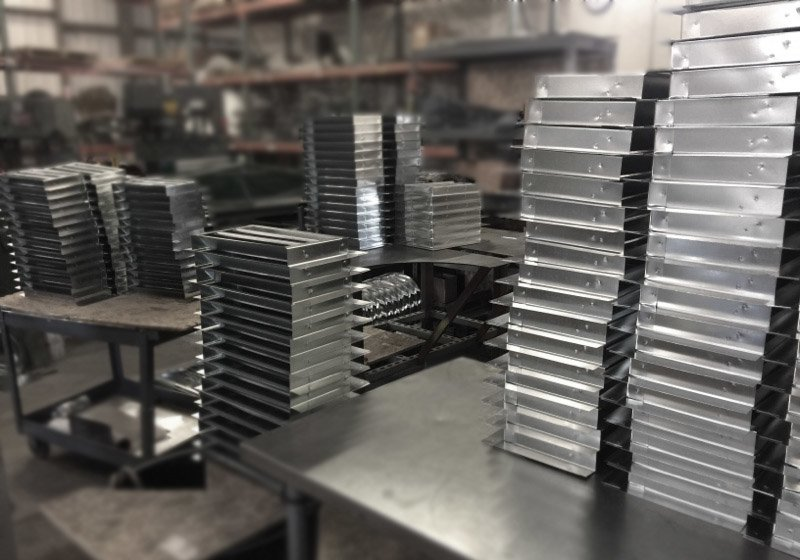Eave vents being produced.
